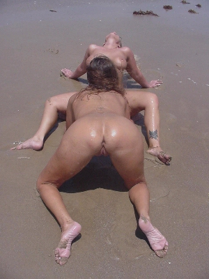 Nude girl at the beach eating pussy of sexy girl
